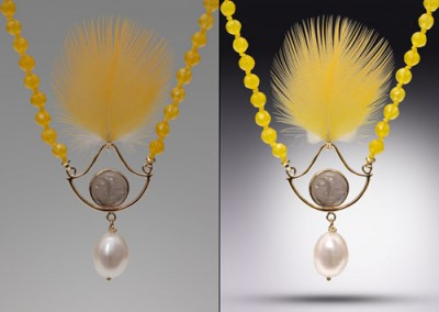 jewelry with a translucent yellow feather
