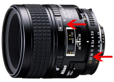 Nikon macro lens showing where aperture and focus can be manually set