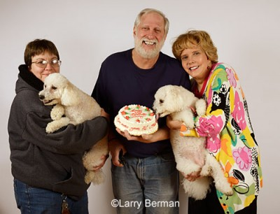 Larry's 64th birthday picture - Xena licking the cake