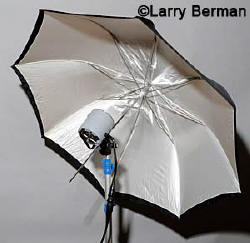 strobe bounced into a white umbrella