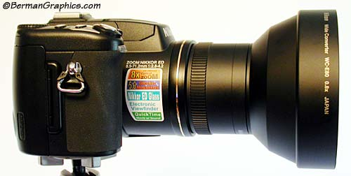 Nikon CoolPix 5700 with WC-E80 wide angle adapter