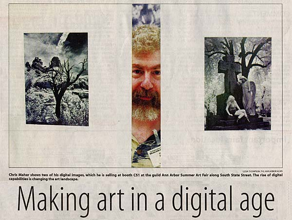 Chris Maher interviewed in the Ann Arbor News about Digital Art