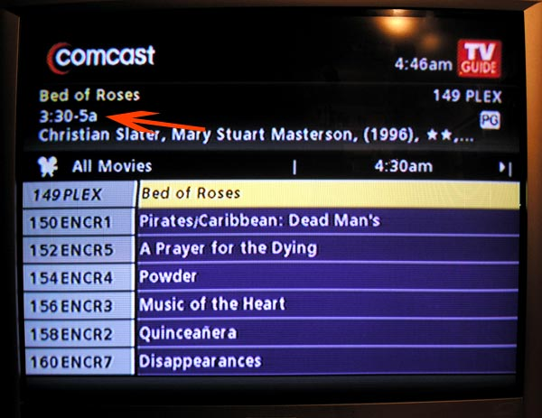 comcast cable movie search menu