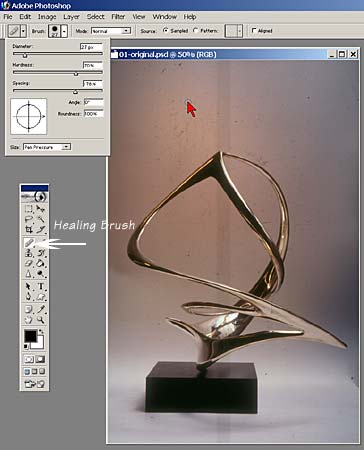 Photoshop screen capture of the Healing Brush tool