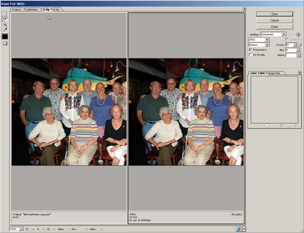 "Photoshop's ""Save For Web"" gives a side by side comparison between the original file and the compressed jpeg"