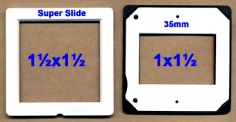 Comparison of super slide to a regular 35mm slide mount